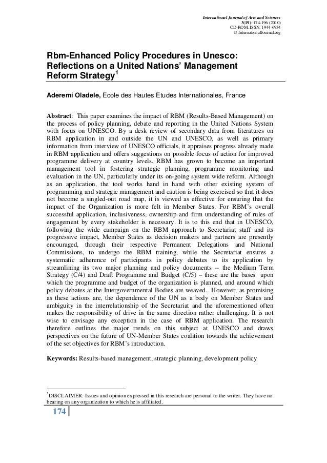 PublicationRBM Enhanced Policy Procedures in the UN: UNESCO\'s Case