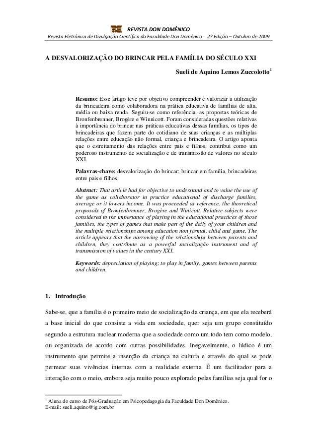 REVISTA DON DOMÊNICO    Revista Eletrônica de Divulgação Científica da Faculdade Don Domênico - 2ª Edição – Outubro de 200...