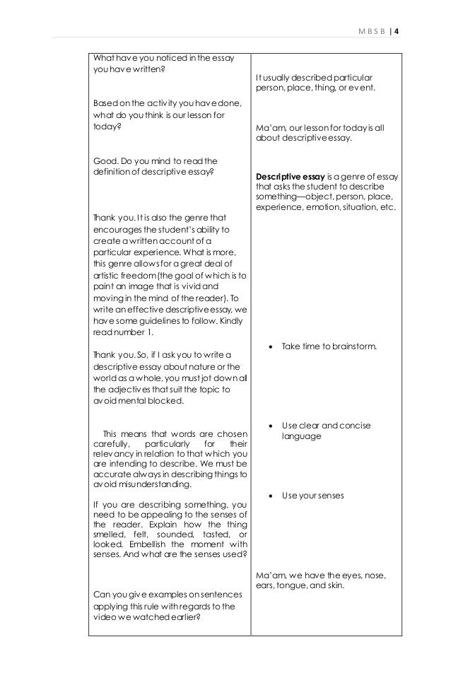 writing descriptive essay lesson plans Essay writing lesson plans this lesson includes an anchor essay which students as they state opinion and supporting reason sentences with descriptive.