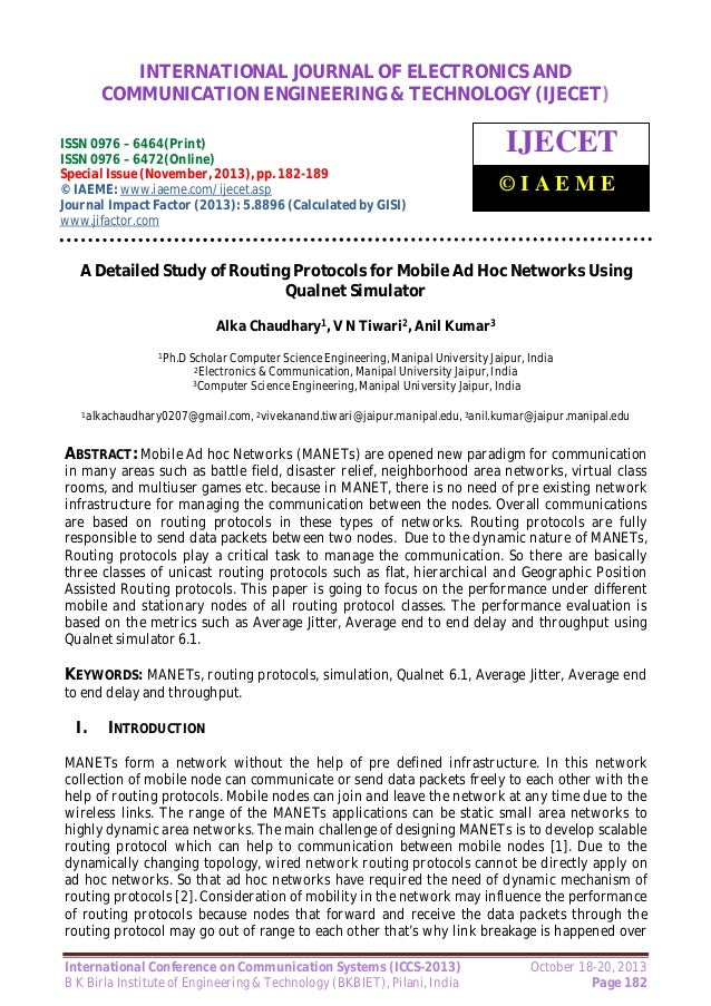 A detailed study of routing protocols for mobile ad hoc networks using