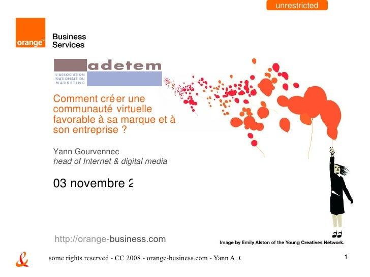 Comment créer une communauté virtuelle favorable à sa marque et à son entreprise ? Yann Gourvennec head of Internet & digi...