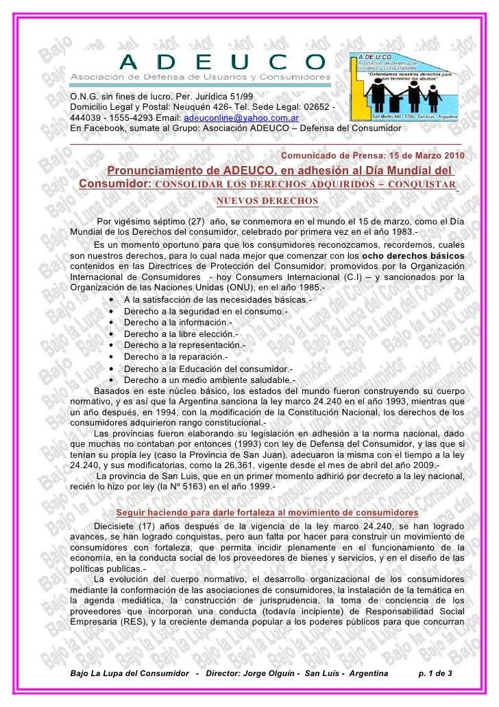 O.N.G. sin fines de lucro. Per. Jurídica 51/99 Domicilio Legal y Postal: Neuquén 426- Tel. Sede Legal: 02652 - 444039 - 15...