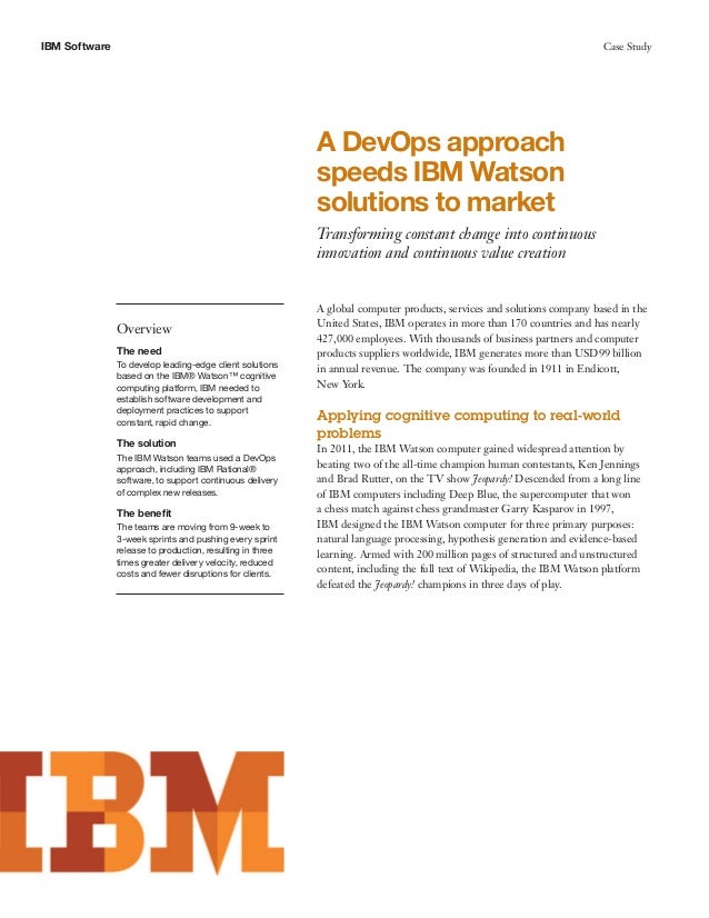 A DevOps Approach Speeds IBM Watson Solutions to Market