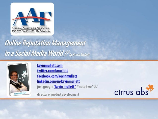 Online Reputation Management in a Social Media World - AdFed