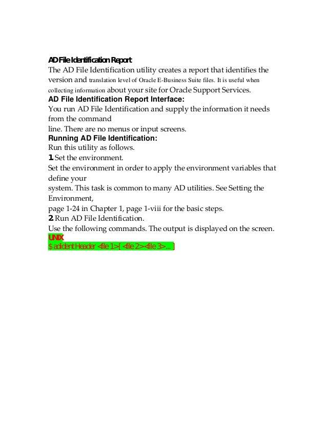 AD File Identification ReportTheADFileIdentificationutilitycreatesareportthatidentifiestheversionandtranslati...