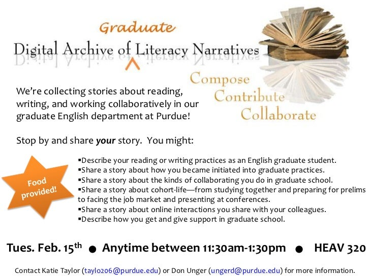 Ad for Collecting Graduate Literacy Narratives
