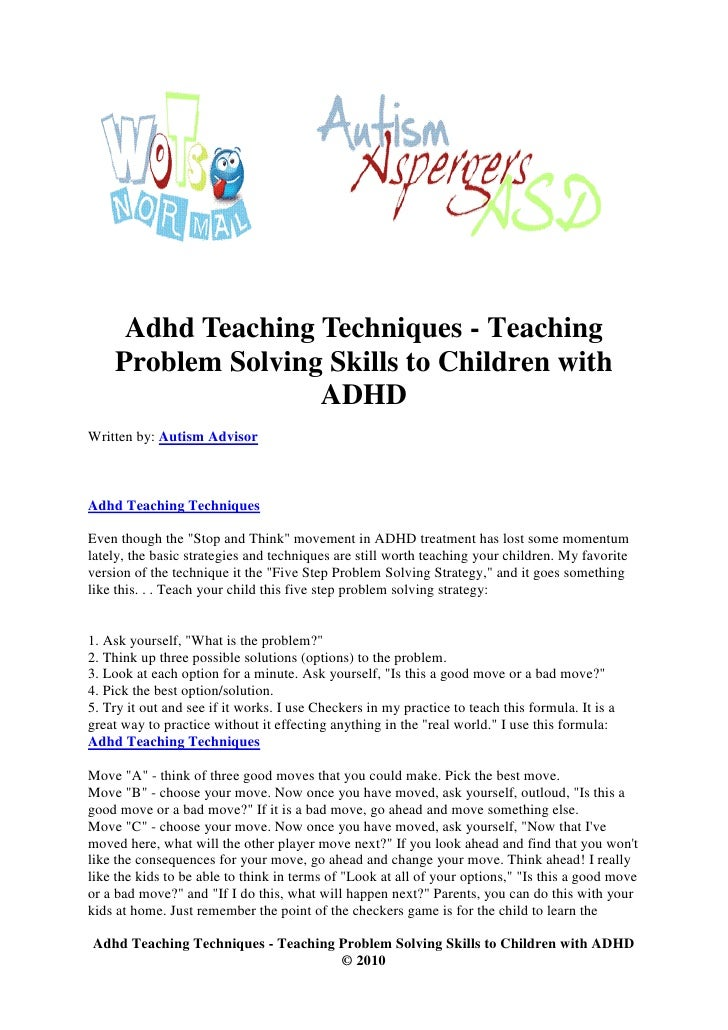 Problem Solving Techniques For Kids