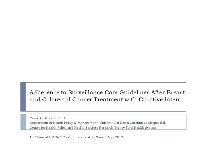Adherence to Surveillance Care Guidelines After Breast and Colorectal Cancer Treatment with Curative Intent SALLOUM