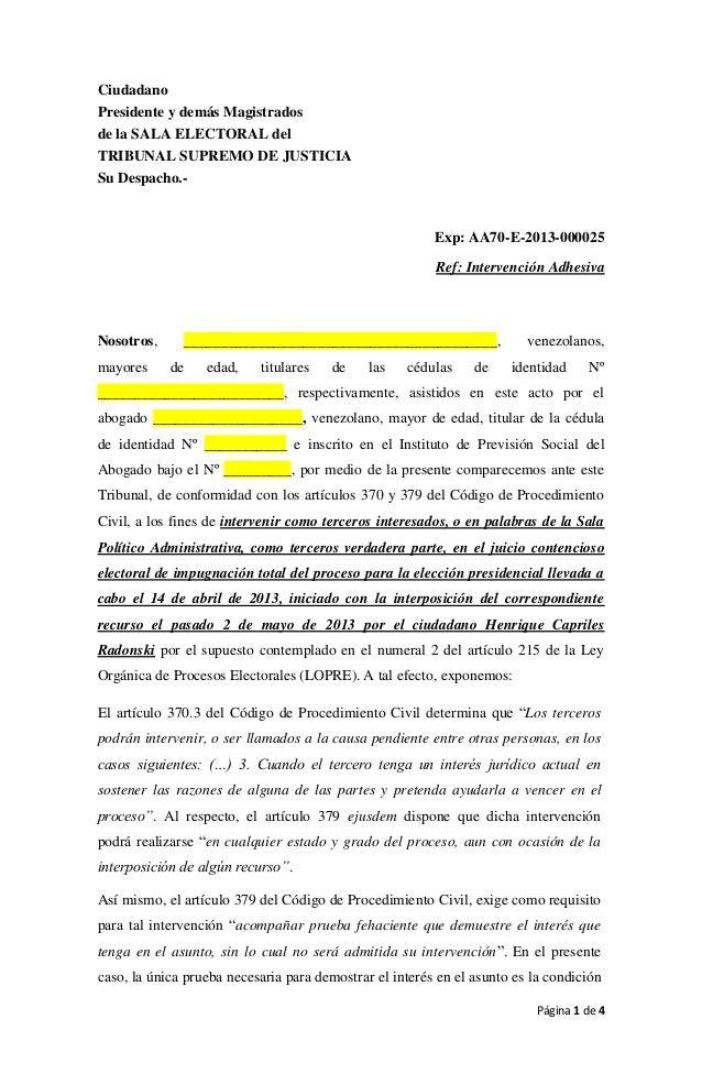 Página 1 de 4CiudadanoPresidente y demás Magistradosde la SALA ELECTORAL delTRIBUNAL SUPREMO DE JUSTICIASu Despacho.-Exp: ...