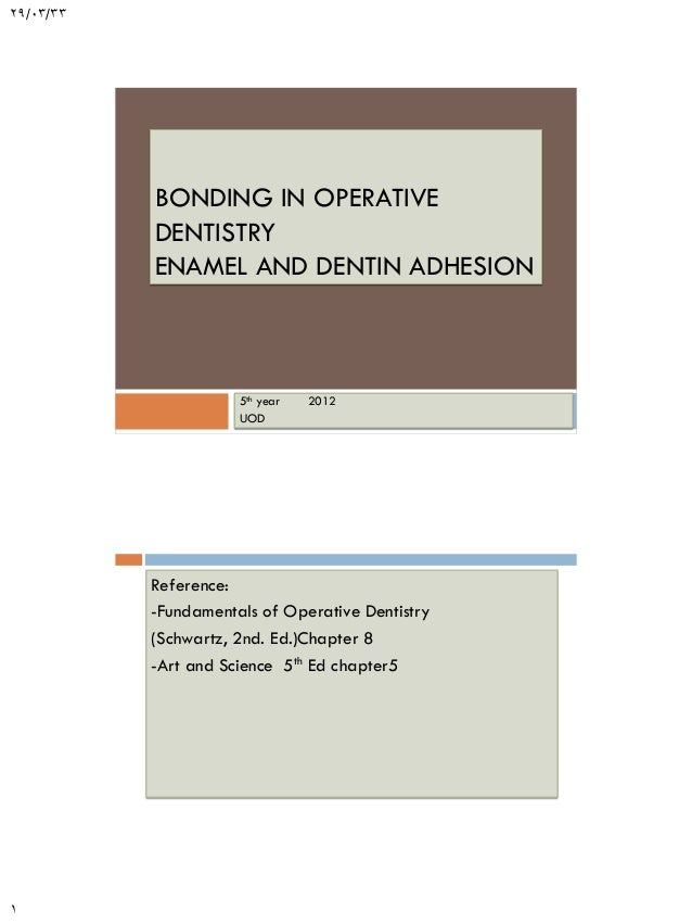 29/03/33  BONDING IN OPERATIVE DENTISTRY ENAMEL AND DENTIN ADHESION  5th year UOD  2012  Reference: -Fundamentals of Opera...