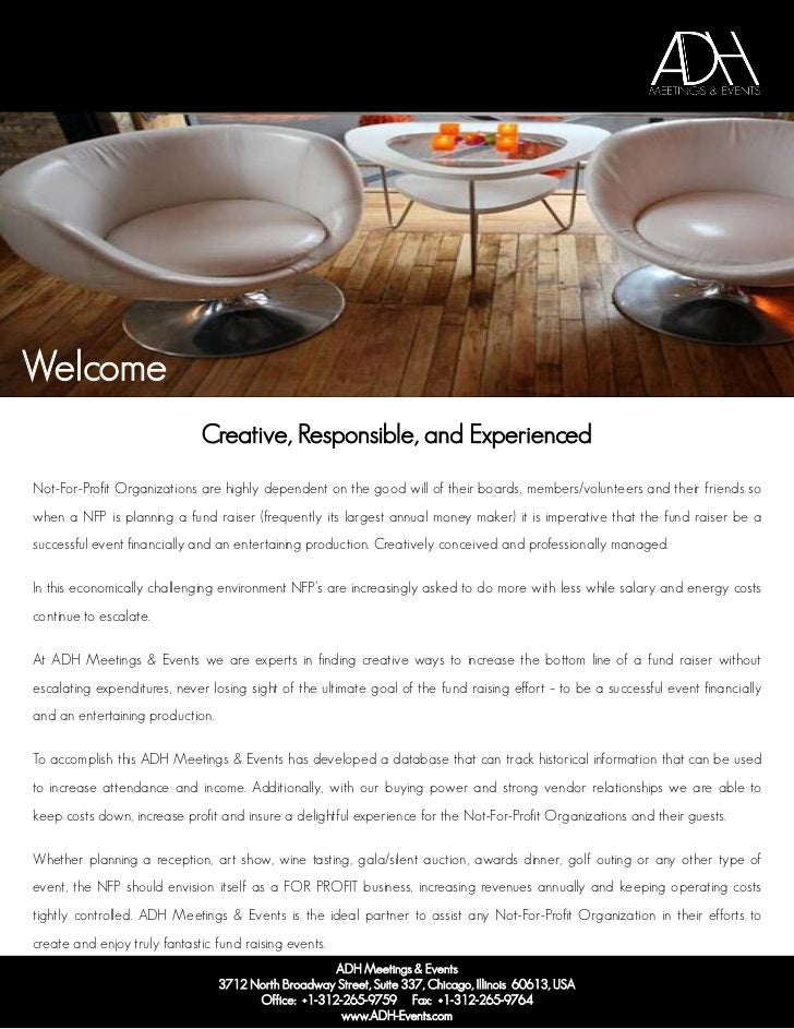 Welcome                              Creative, Responsible, and ExperiencedNot-For-Profit Organizations are highly depende...