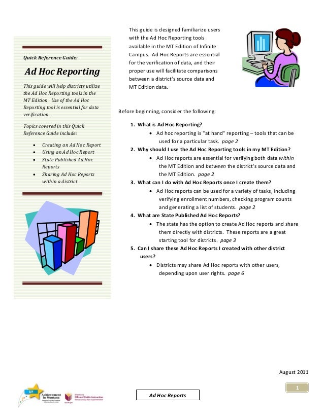 Quick Reference Guide:   Ad Hoc Reporting  This guide will help districts utilize  the Ad Hoc Reporting tools in the ...