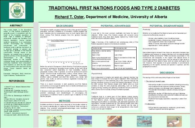fTRADITIONAL FIRST NATIONS FOODS AND TYPE 2 DIABETESgRichard T. Oster, Department of Medicine, University of AlbertakABSTR...