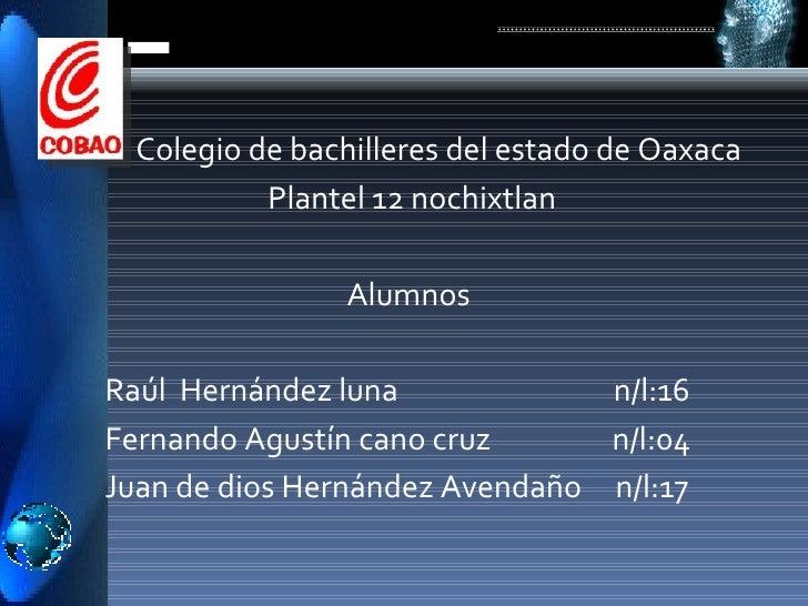 <ul><li>Colegio de bachilleres del estado de Oaxaca </li></ul><ul><li>Plantel 12 nochixtlan </li></ul><ul><li>Alumnos  </l...