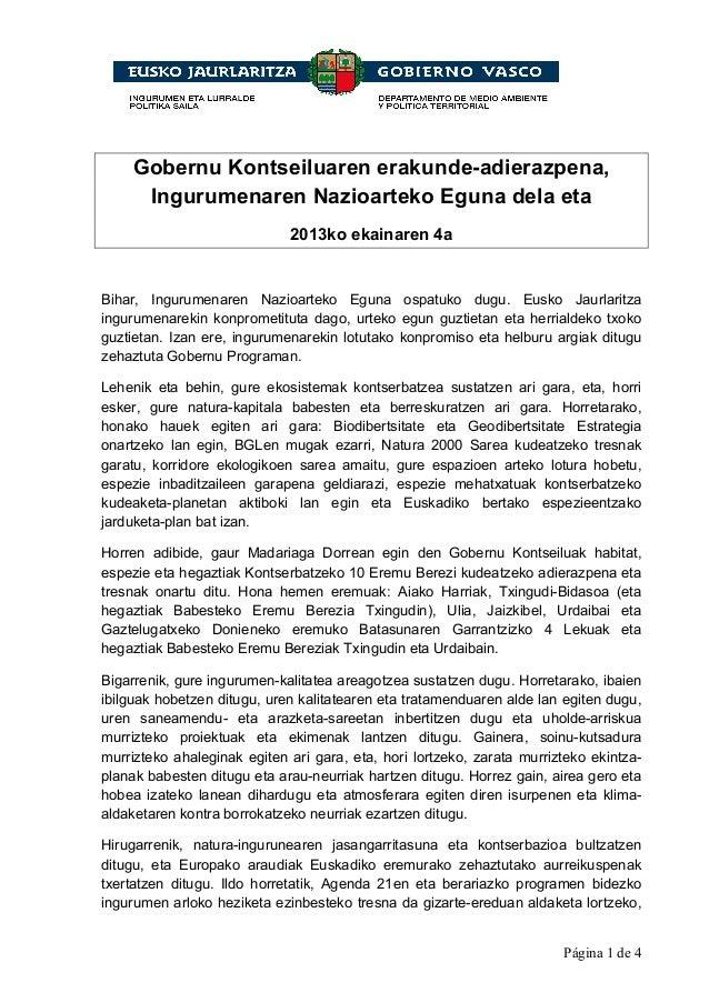 Página 1 de 4Gobernu Kontseiluaren erakunde-adierazpena,Ingurumenaren Nazioarteko Eguna dela eta2013ko ekainaren 4aBihar, ...