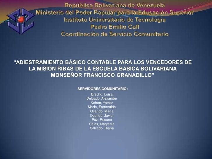 Adiestramiento basico contable para los vencedores de la mision ribas ebb monseñor francisco granadillo