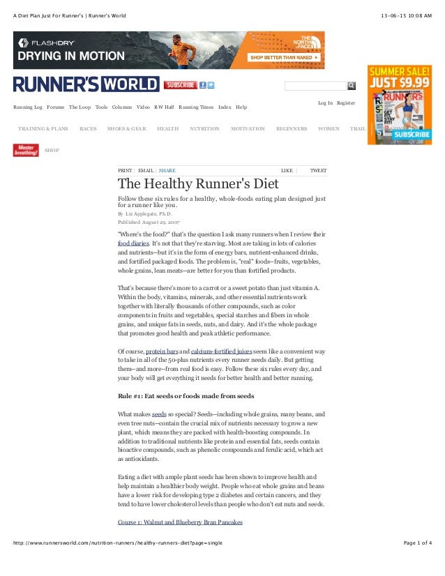 A diet plan just for runner's | runner's world