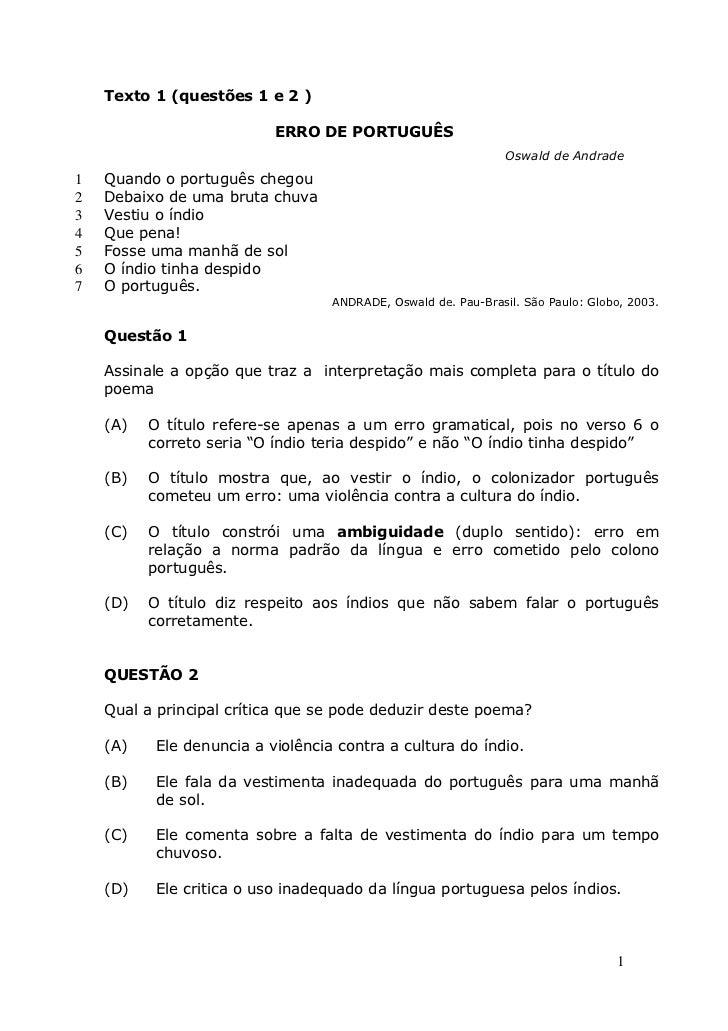 Texto 1 (questões 1 e 2 )                           ERRO DE PORTUGUÊS                                                     ...