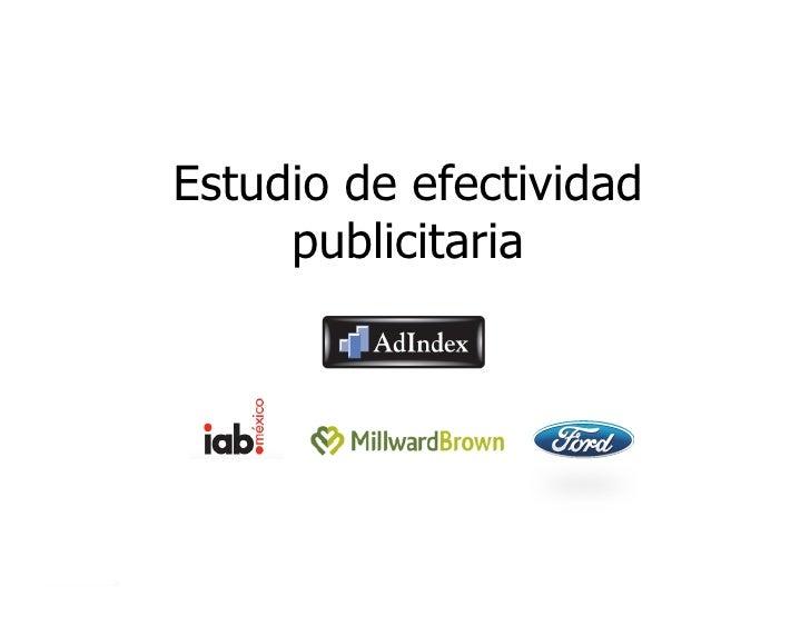 Estudio de efectividad     publicitaria