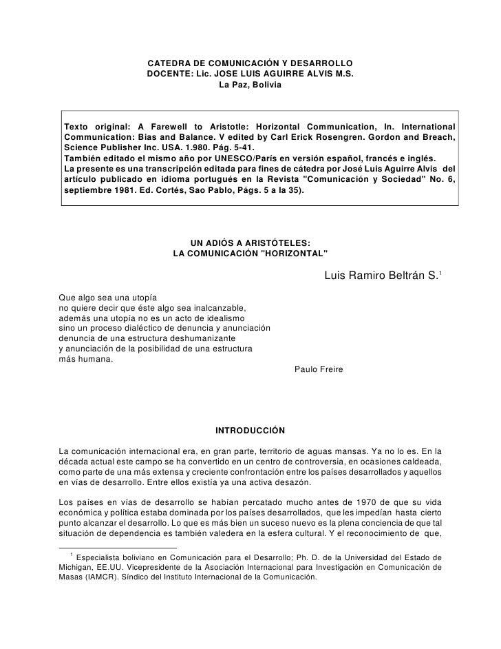 CATEDRA DE COMUNICACIÓN Y DESARROLLO                        DOCENTE: Lic. JOSE LUIS AGUIRRE ALVIS M.S.                    ...