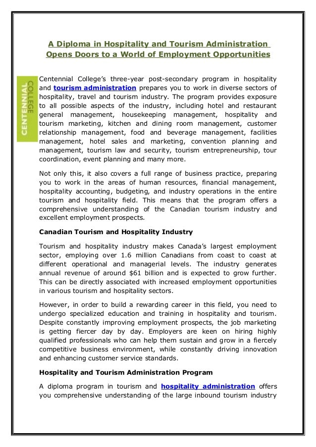 A Diploma in Hospitality and Tourism Administration Opens Doors to a World of Employment Opportunities Centennial College'...