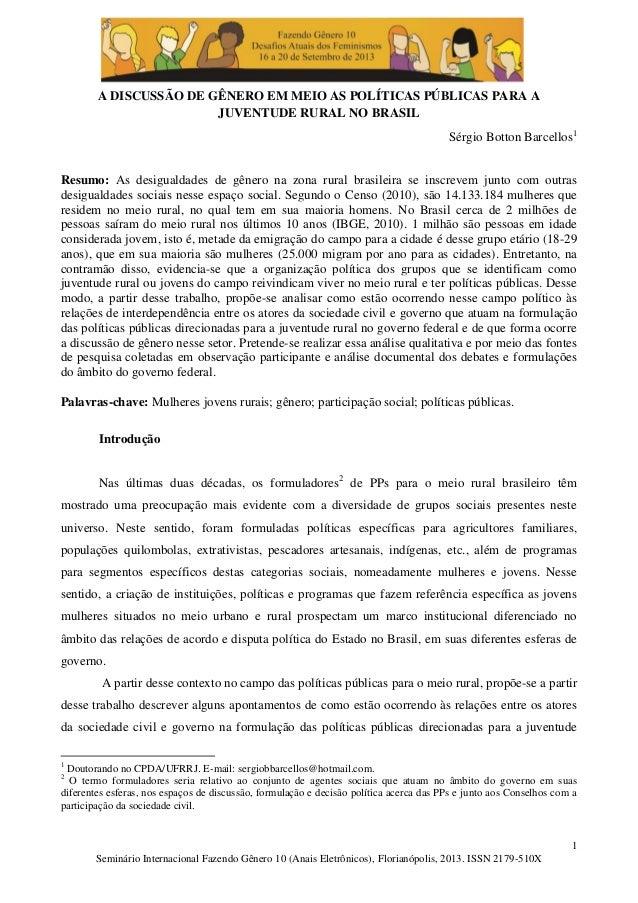 A discussão de gênero em meio as políticas públicas para a juventude rural no brasil