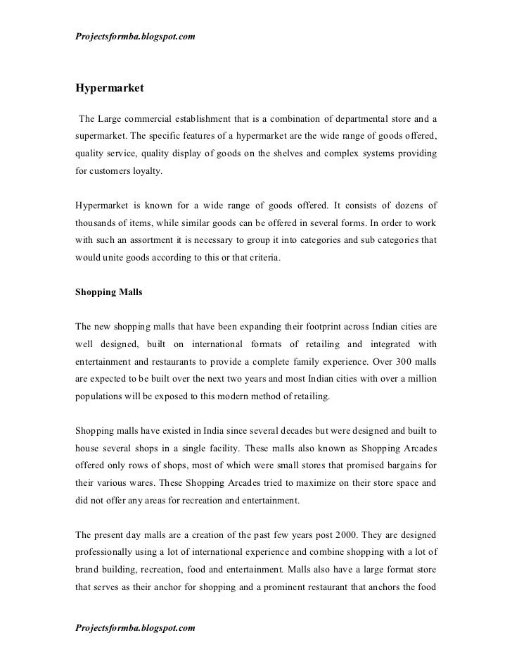 Dissertation report on retail