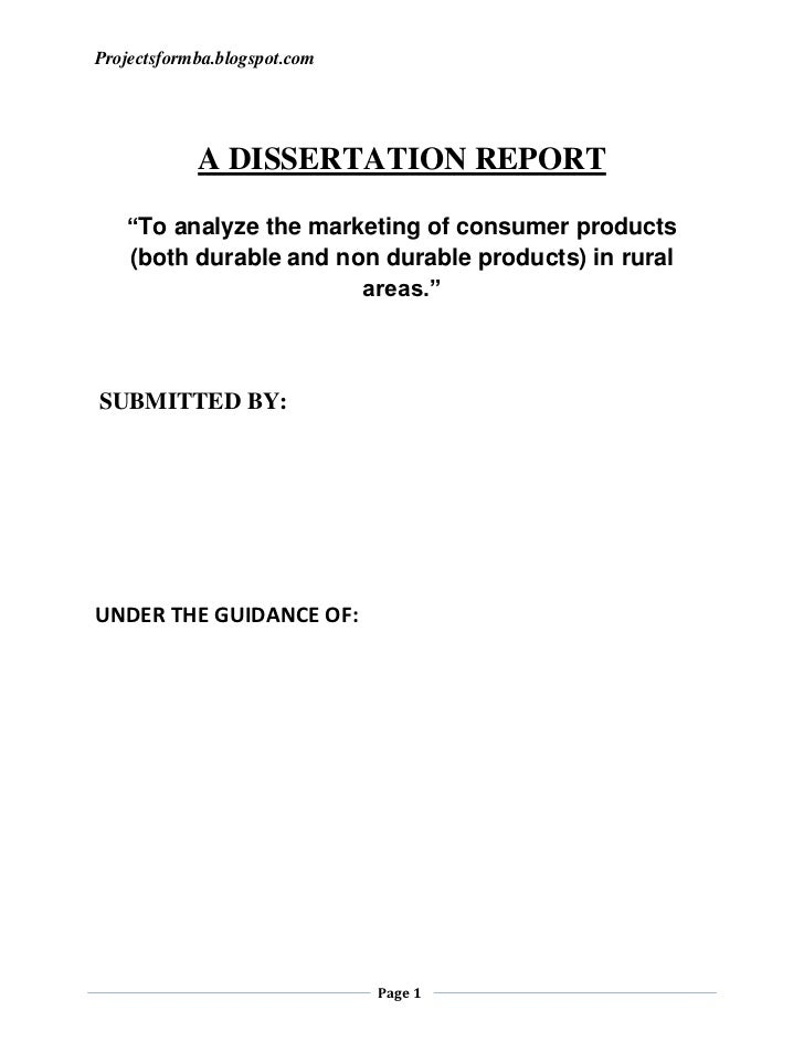 A dissertation report to analyze the marketing of consumer products (both durable and non durable products) in rural areas.
