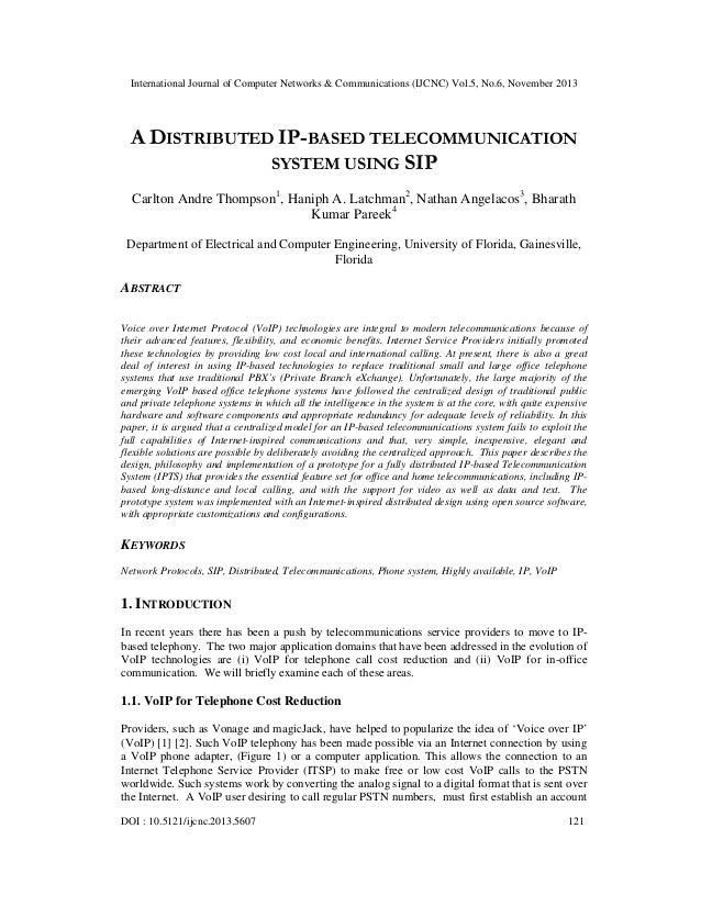 A distributed ip based telecommunication system using sip