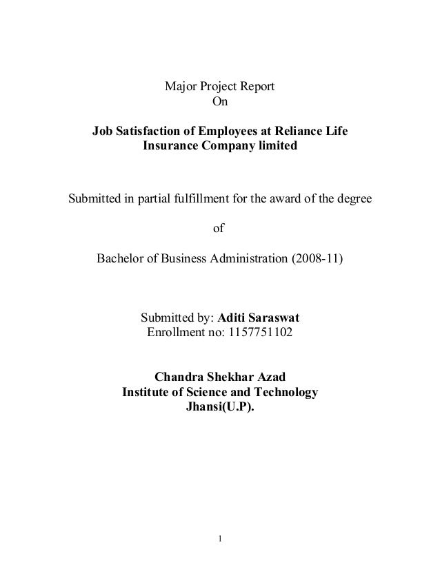 Major Project Report On Job Satisfaction of Employees at Reliance Life Insurance Company limited  Submitted in partial ful...