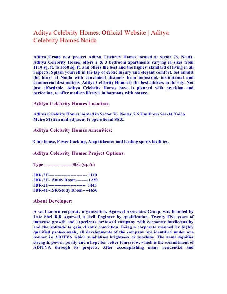 Aditya Celebrity Homes – A Paradise in Noida