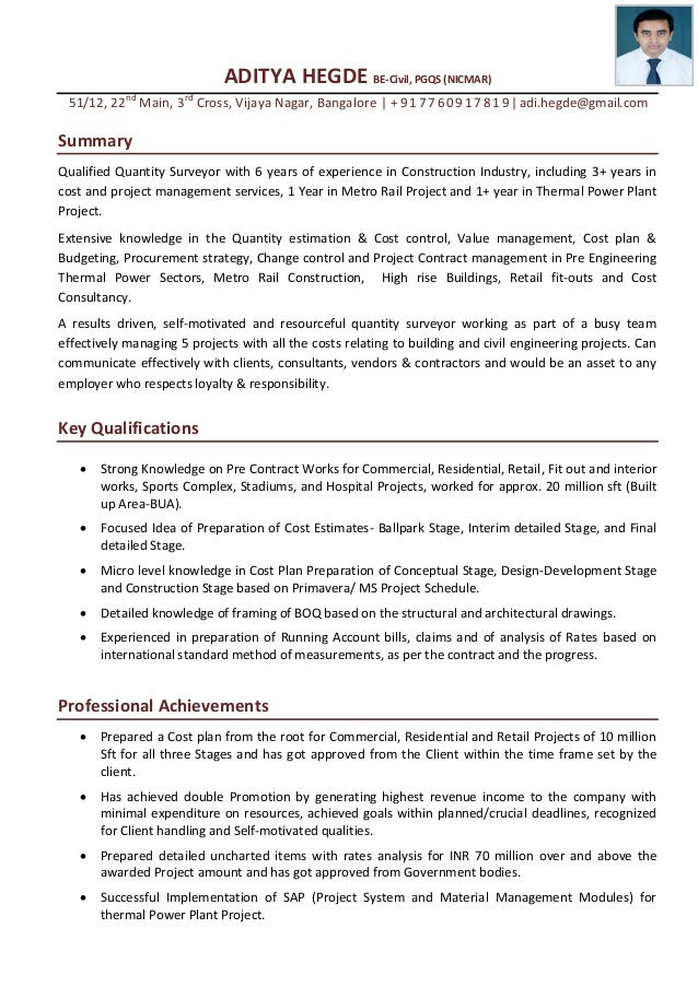 aditya hegde qs cover letter with resume surveyor resume - Land Surveyor Cover Letter