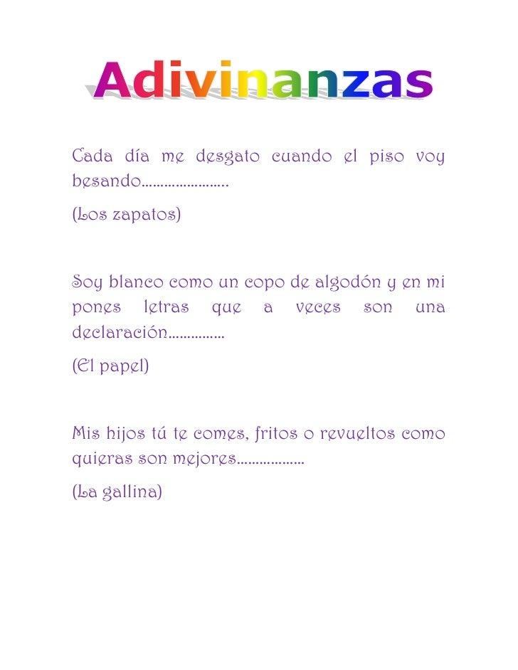 Adivinanzas en Espanol Para Ninos Adivinanzas Para ni os
