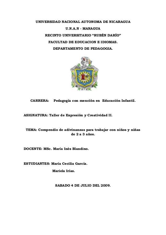 "UNIVERSIDAD NACIONAL AUTONOMA DE NICARAGUA U.N.A.N - MANAGUA RECINTO UNIVERSITARIO ""RUBÉN DARÍO"" FACULTAD DE EDUCACION E I..."