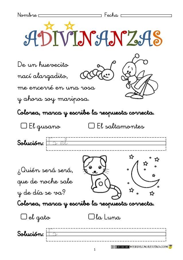 Adivinanzas en Espanol Para Ninos Adivinanzas 1 Para ni os