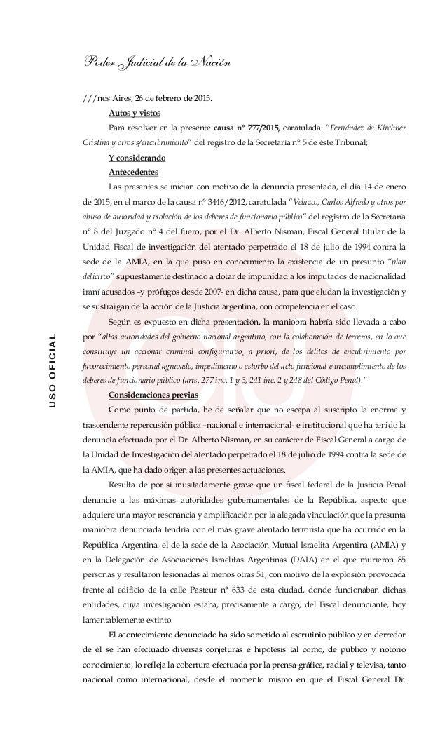 Poder Judicial de la Nación USOOFICIAL ///nos Aires, 26 de febrero de 2015. Autos y vistos Para resolver en la presente ca...