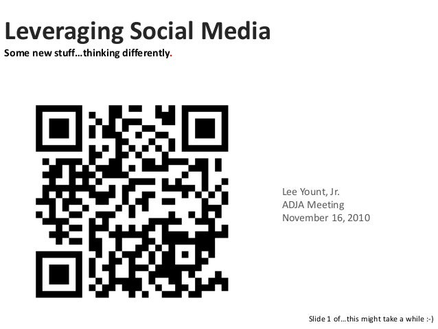 Leveraging Social Media Some new stuff…thinking differently. Slide 1 of…this might take a while :-) Lee Yount, Jr. ADJA Me...