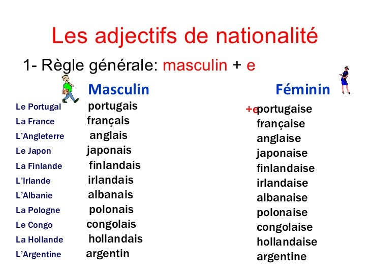 adjectif masculin