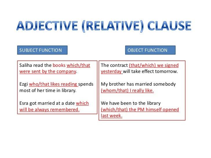 Finite Adjective Clause