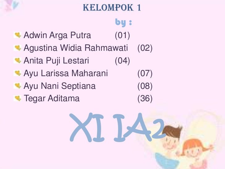 Kelompok 1                  by :Adwin Arga Putra     (01)Agustina Widia Rahmawati    (02)Anita Puji Lestari   (04)Ayu Lari...