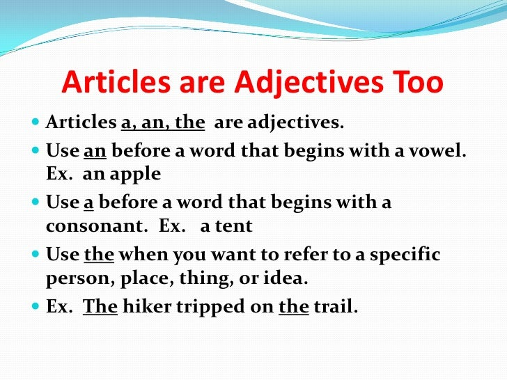 articles that are adjectives used in interviews