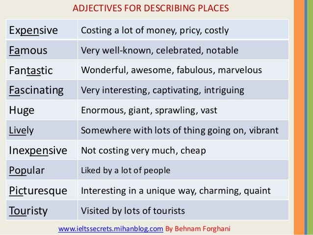 Adjectives for describing places