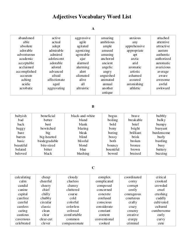 Adjectives Words That Start With a Adjectives Vocabulary Word