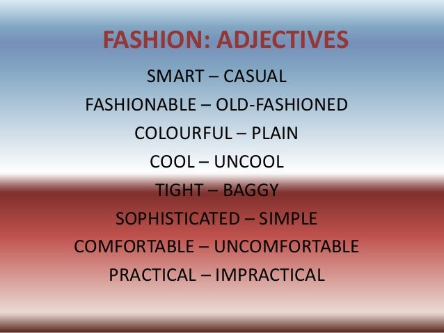 Adjectives Fashion