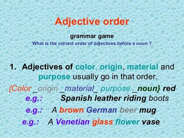 Adjectivesorder