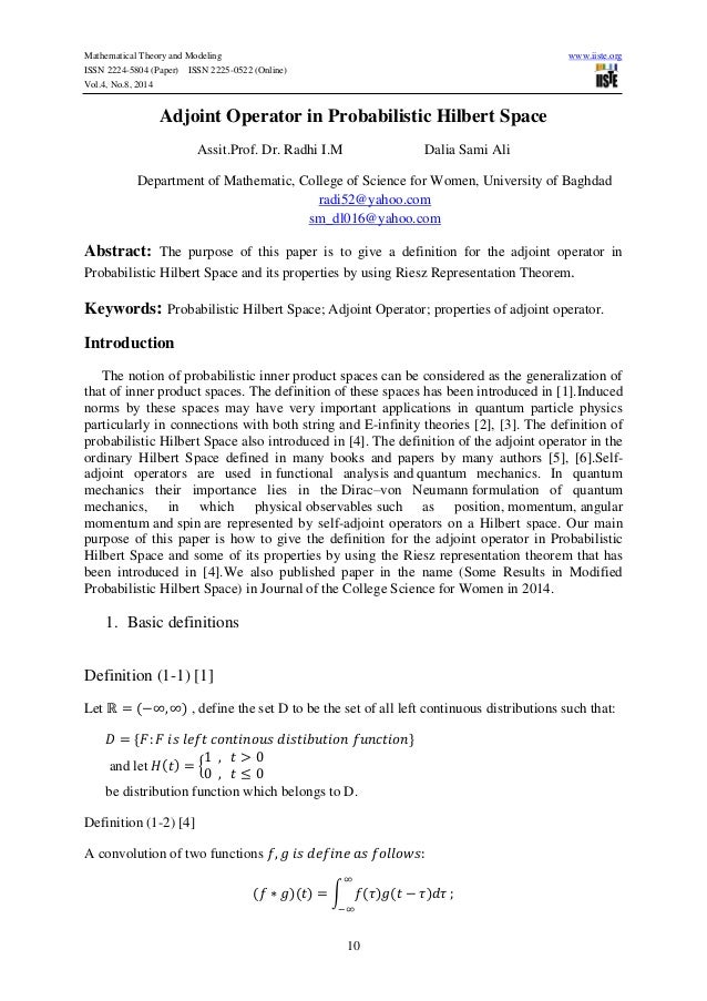 Mathematical Theory and Modeling www.iiste.org ISSN 2224-5804 (Paper) ISSN 2225-0522 (Online) Vol.4, No.8, 2014 10 Adjoint...