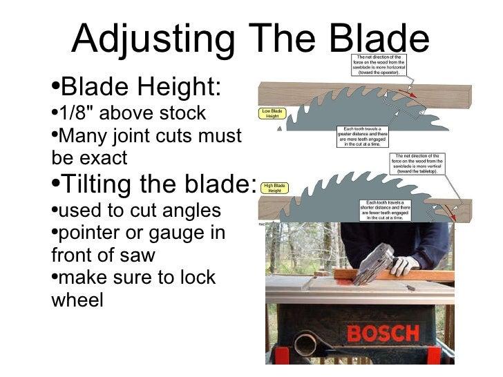 Adjusting the blade