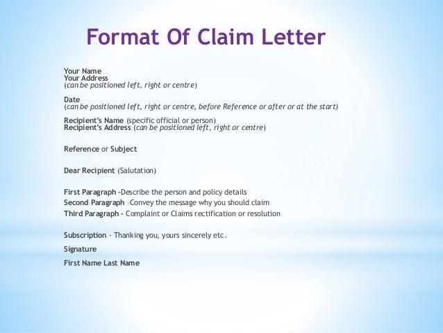 Adjustments and claim