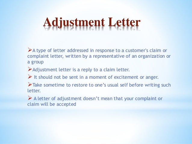 Adjustments And Claim