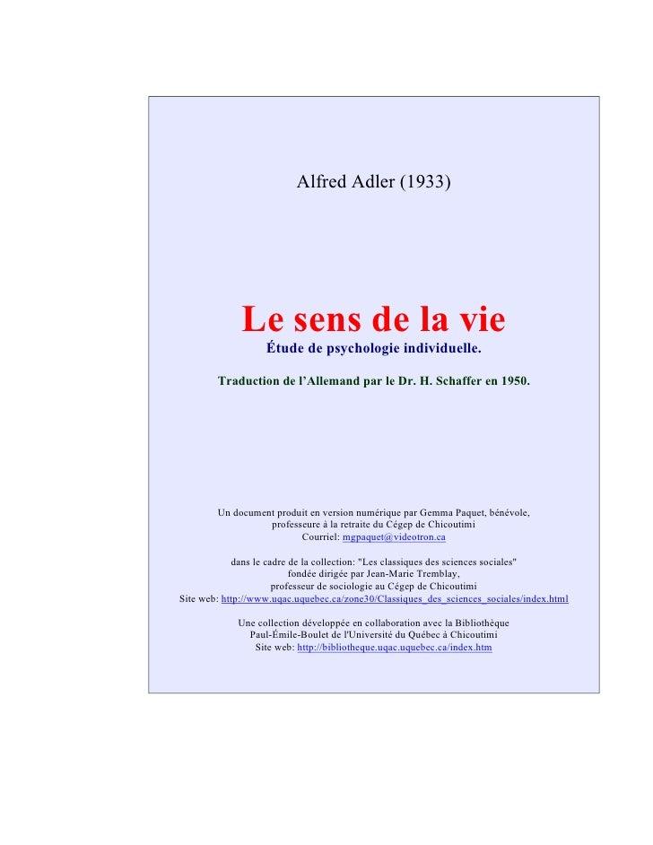 Adler Le Sens De La Vie